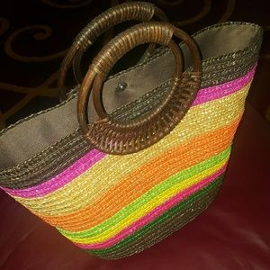 Multi-colored Straw bag